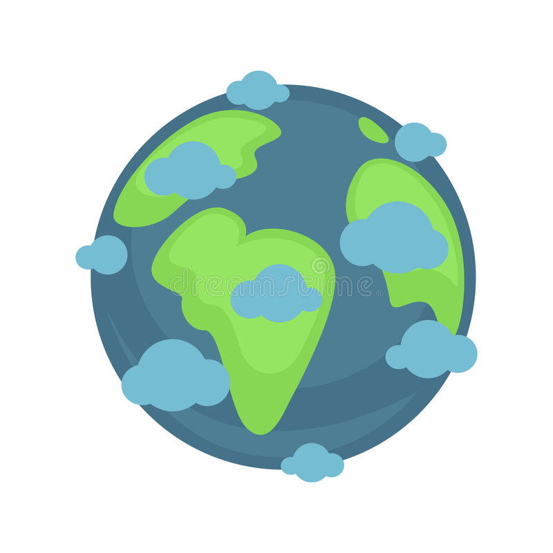 Earth planet under blue clouds colorful graphic illustration royalty free illustration