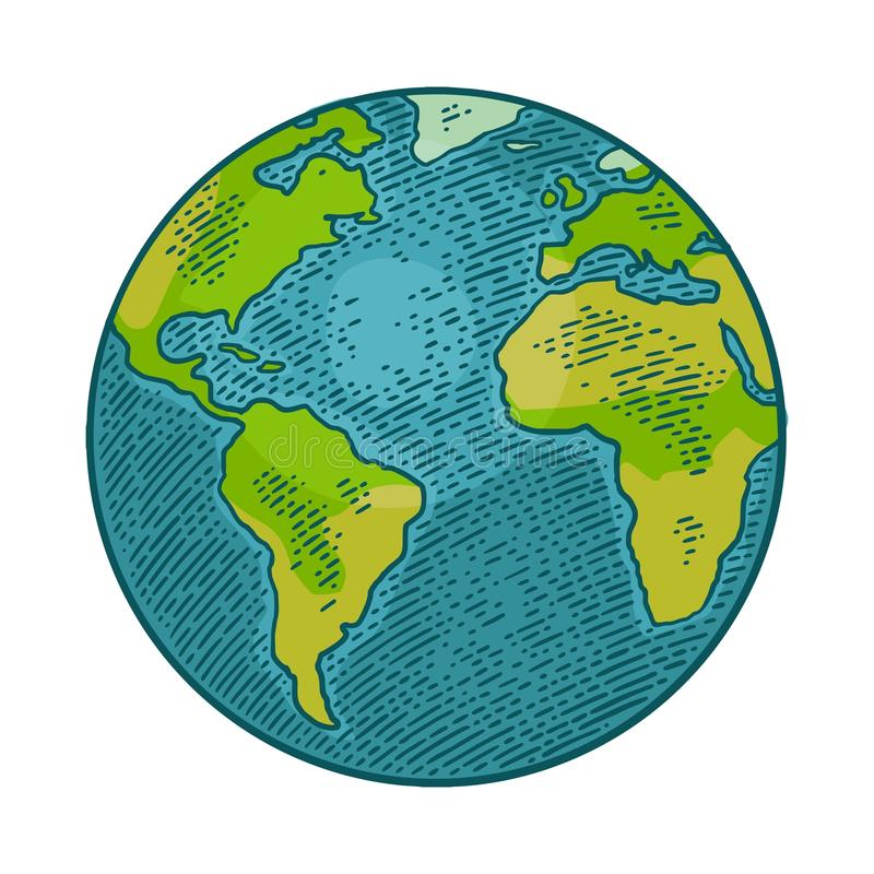 Earth planet. Vector color vintage engraving illustration royalty free illustration