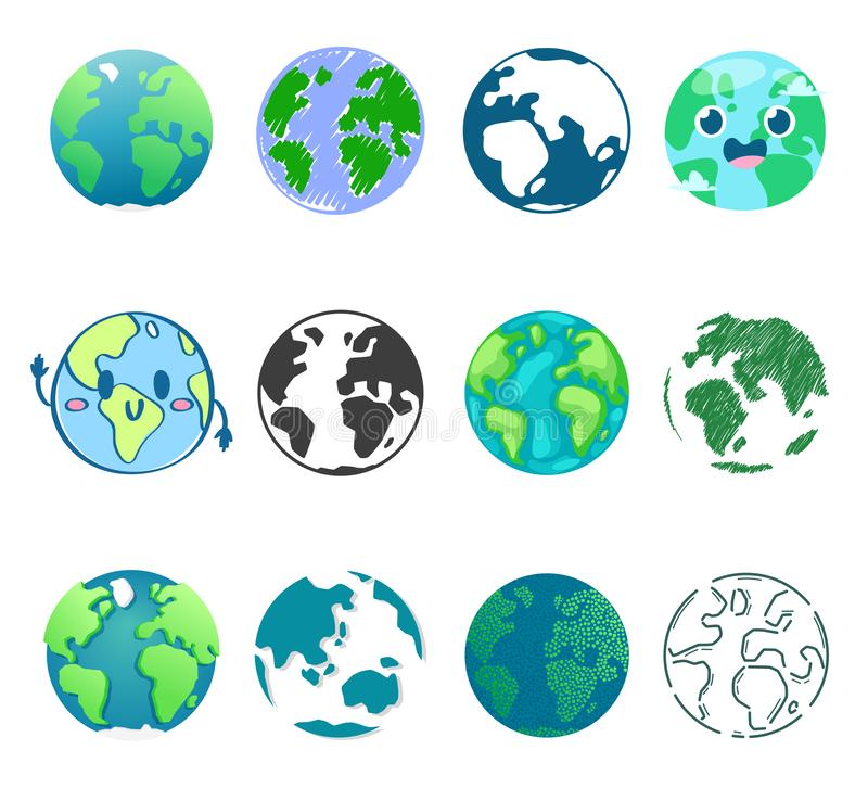 Earth planet vector global world universe and worldwide earthly universal globe illustration worldly set of earthed. Sphere logo with continents and ocean stock illustration
