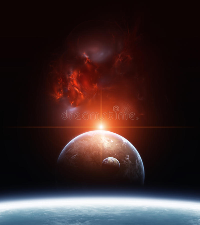 Download Earth With Planets And Red Nebula On Background Stock Illustration - Image: 27569981