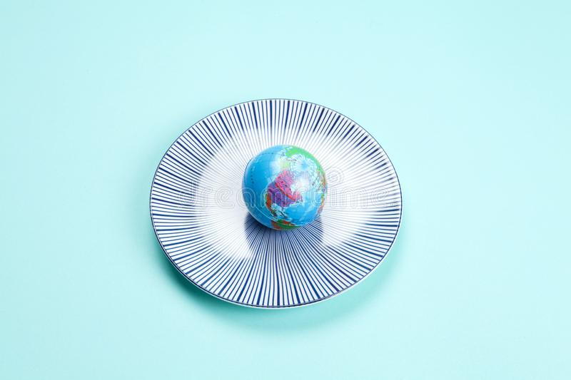 Earth in a plate stock photography