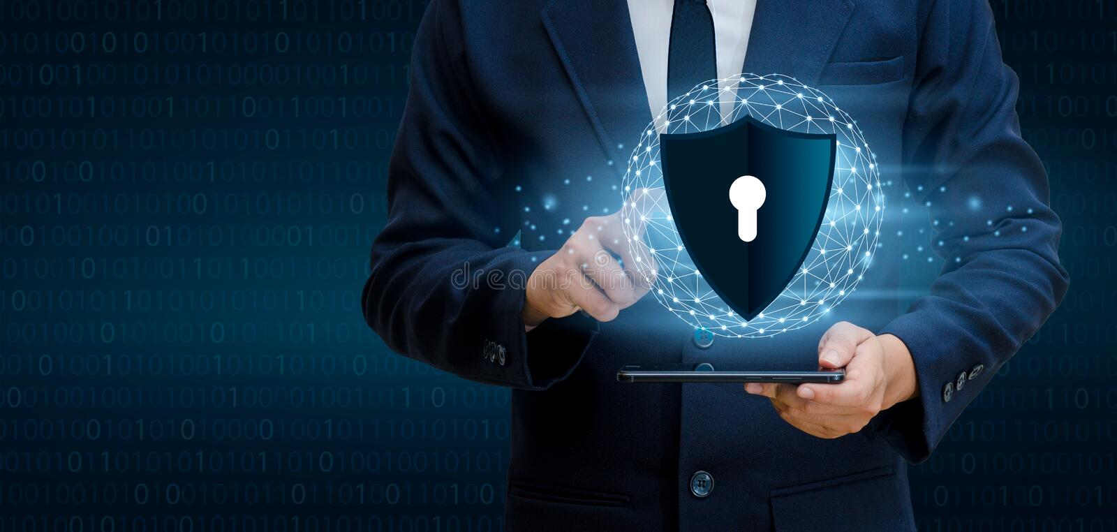 Earth polygon mesh planet World Business men shake hands protect information in cyberspace. Businessman holding shield protect i royalty free stock photos