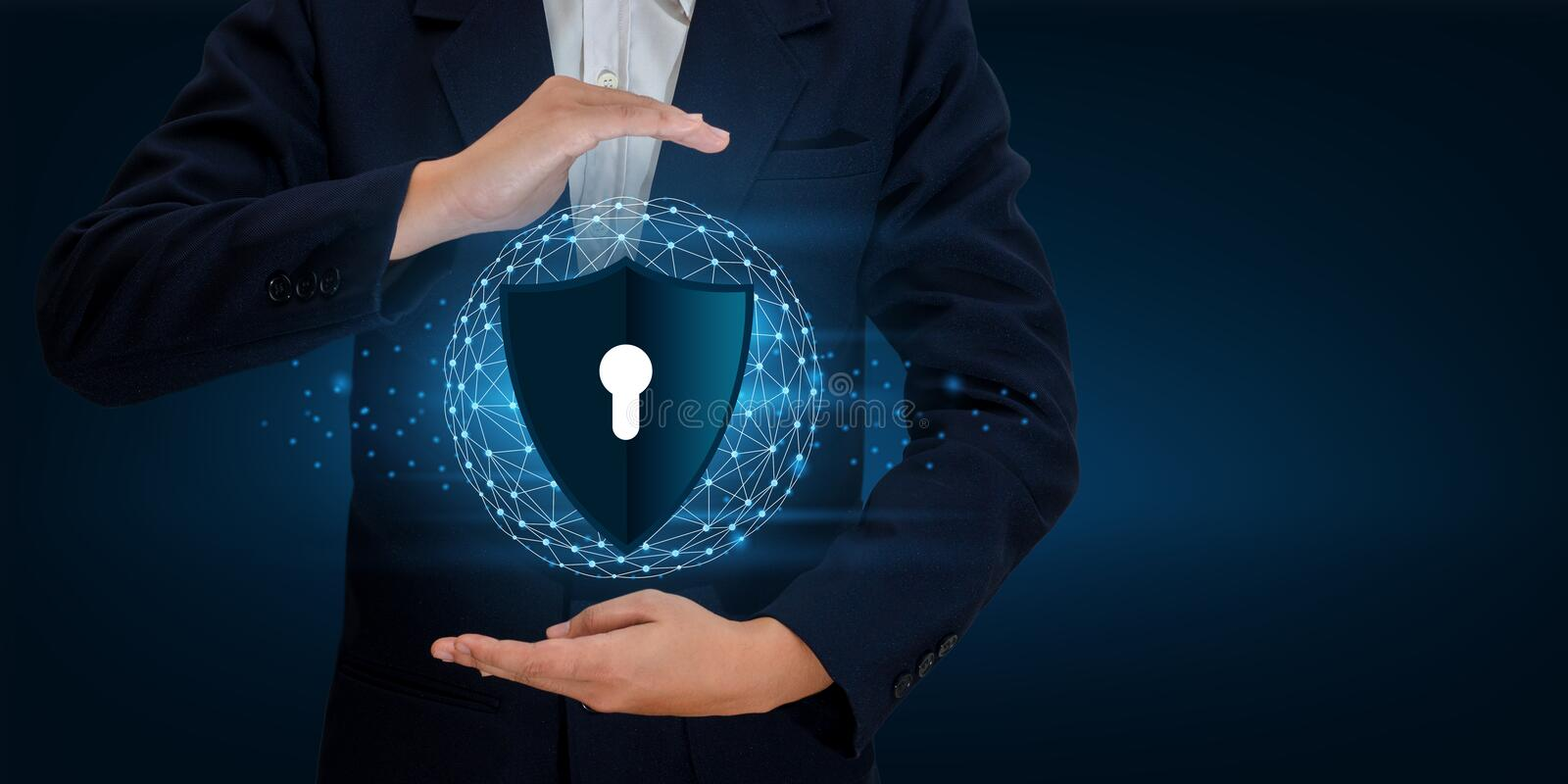 Earth polygon mesh planet World Businessmen shake hands to protect information in cyberspace. Businessman holding shield protect i stock images