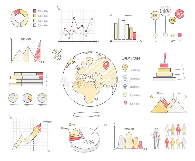 Earth Population Statistics Charts Illustration stock illustration
