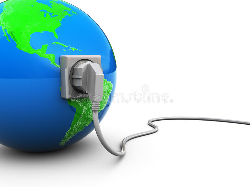 Earth and power cable vector illustration