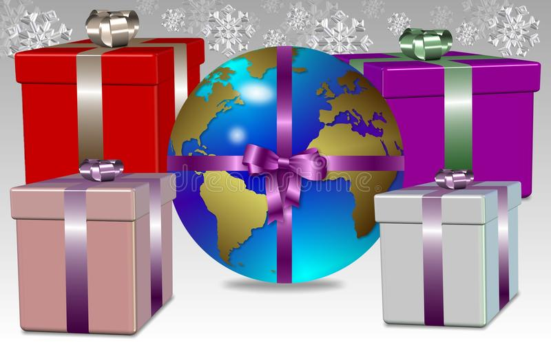 Earth for present. Earth globe wrapped as a Christmas present with snowflakes in the background royalty free illustration