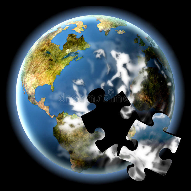 The Earth Puzzle. Planet earth with a loose jigsaw piece