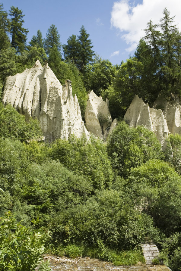 Earth Pyramids near Terento village stock photo