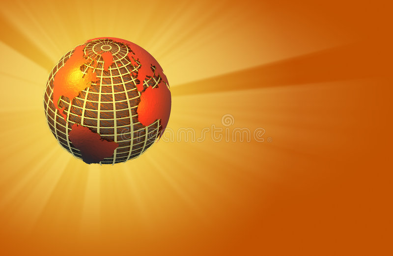 Earth Radiating Light - Warm - Left Orientation Stock Image
