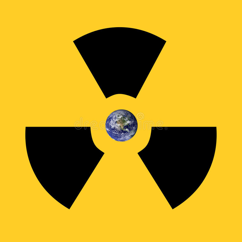 Earth radioactive sign. A radioactive sign surrounding earth. Earth picture from Nasa royalty free stock image