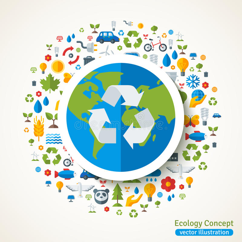 Earth with recycling symbol flat sticker vector illustration