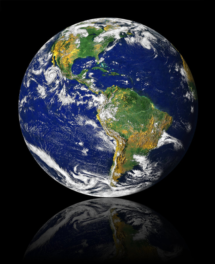 Earth with reflection stock images