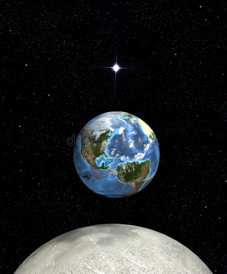 Earth rise moon star in space vector illustration