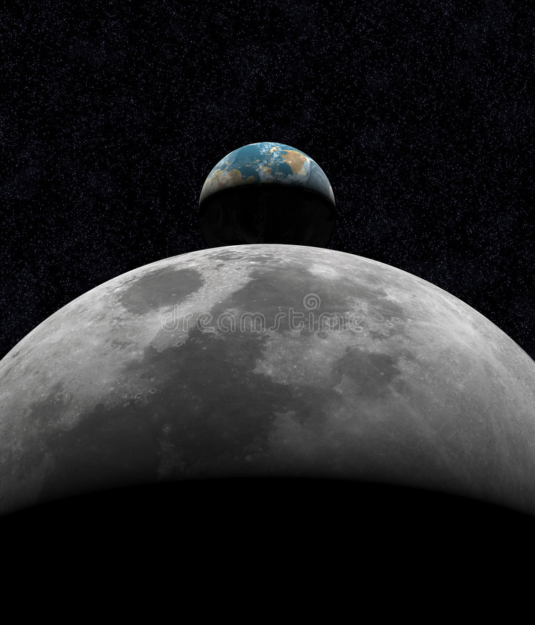 Earth Rise Over Moon royalty free stock photos