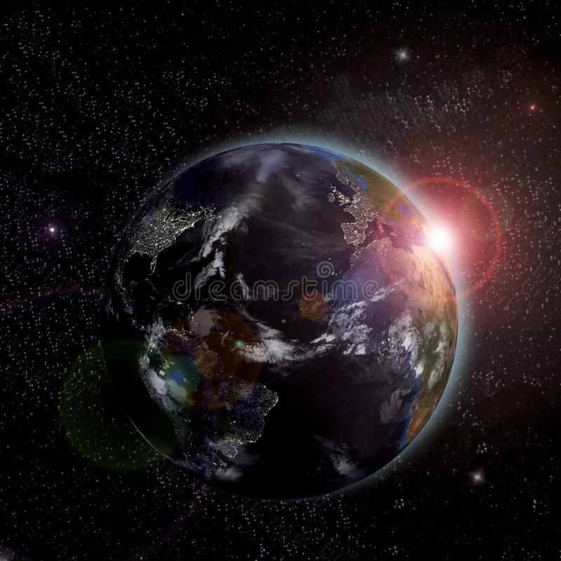 Earth With The Rising Sun Royalty Free Stock Image