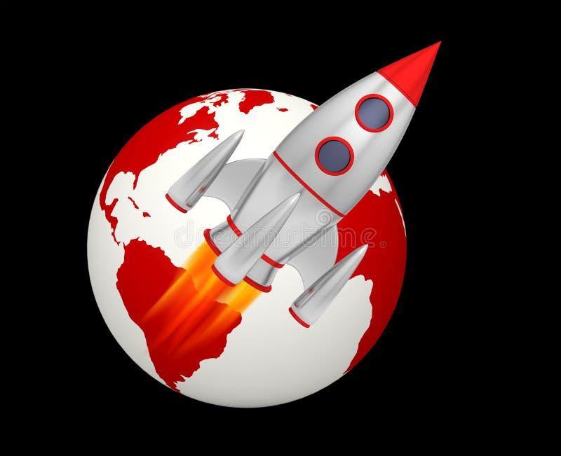 Earth rocket takeoff. 3D illustration royalty free illustration