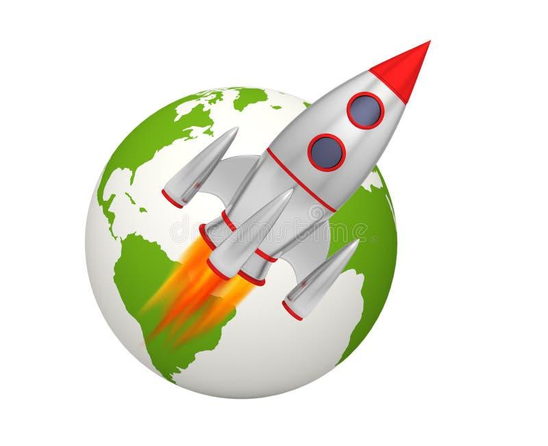 Earth rocket takeoff. 3D illustration stock illustration