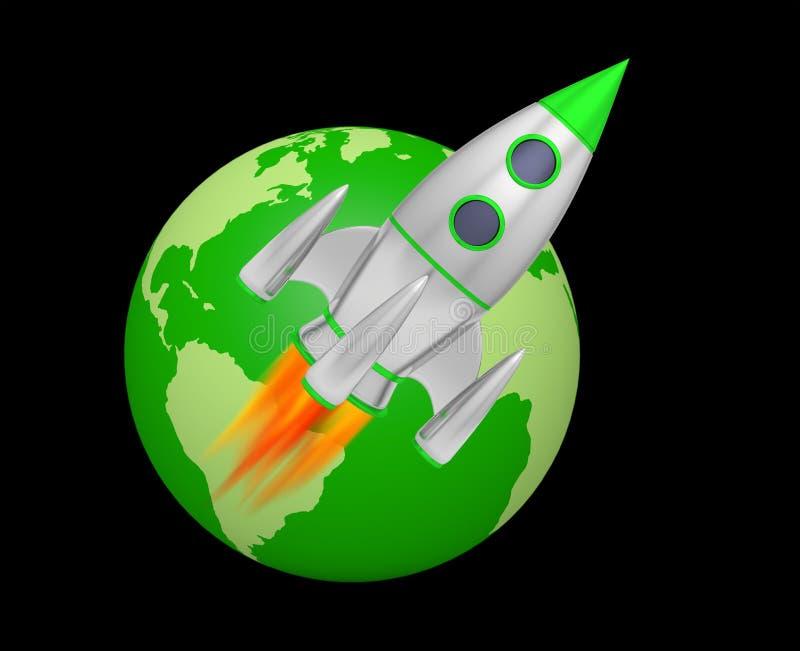 Earth rocket takeoff. 3D illustration vector illustration