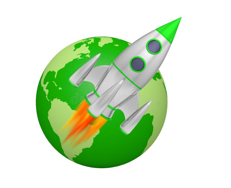 Earth rocket takeoff. Space 3D stock illustration