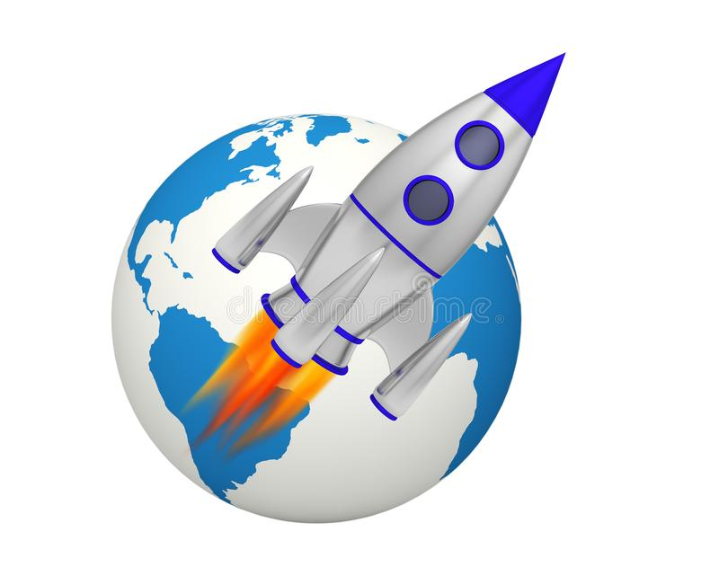 Earth rocket takeoff. Space 3D royalty free illustration