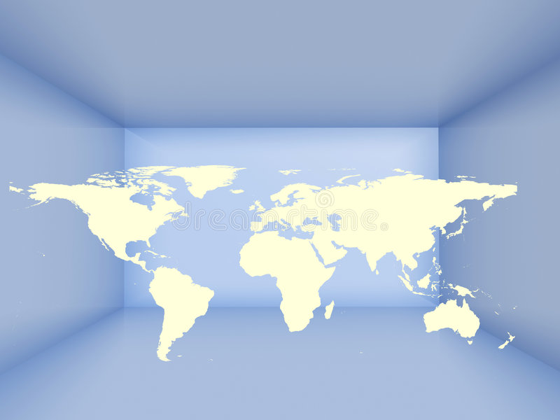 Earth in a room. Depicting communications concept royalty free illustration