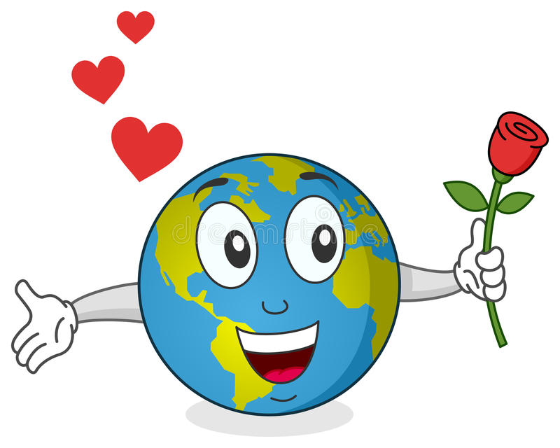 Earth with Rose Character stock illustration