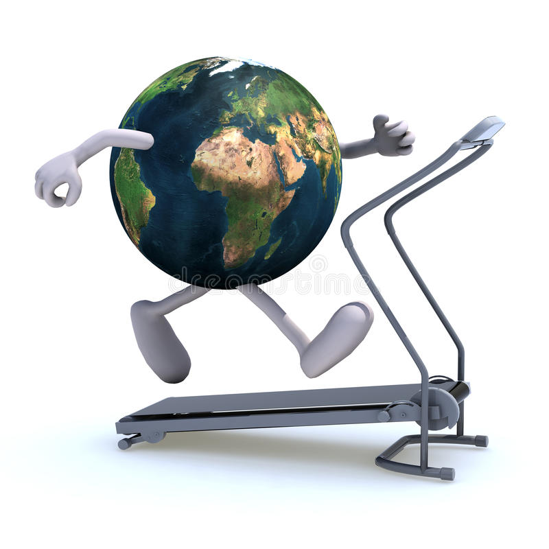 Download Earth on a running machine stock illustration. Illustration of muscle - 28230461
