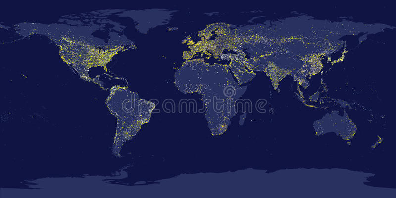 Earth's city lights map with silhouettes of continents vector illustration