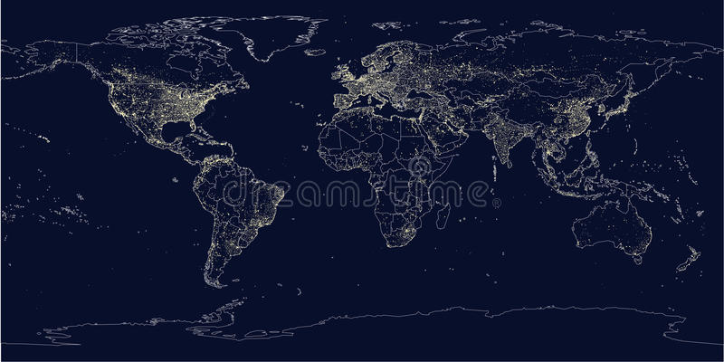 Earth's city lights political map royalty free illustration