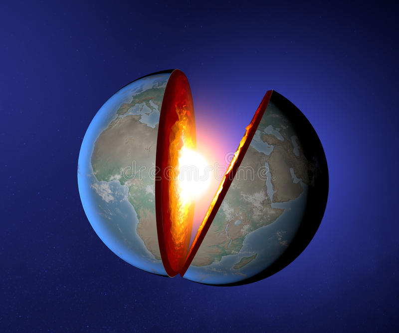 Earth's core, Earth, world, split, geophysics. Section of the earth and core vector illustration