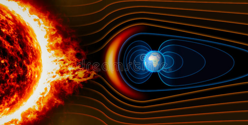 Earth`s magnetic field, the Earth, the solar wind. The flow of particles stock illustration