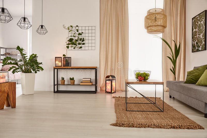 Earth`s tones home interior. With sofa and table royalty free stock photo