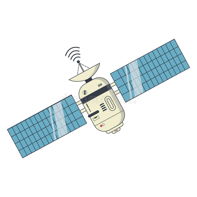 Earth satellite network provider banner. Communication satellite with solar panels and dish with the antenna. Vector Illustration royalty free illustration