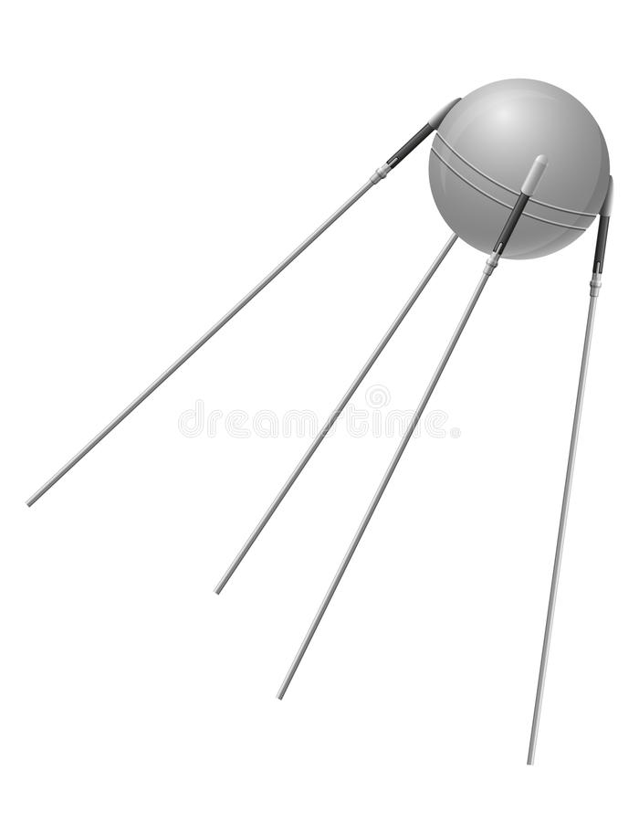 Free Earth Satellite Sputnik Vector Illustration Royalty Free Stock Images - 58897109