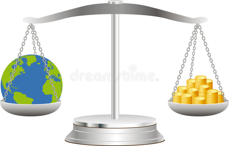 The Earth on scales with coins vector illustration