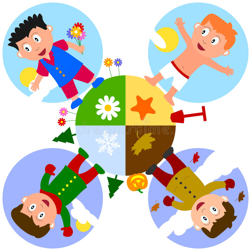 Earth Seasons with Boys stock illustration