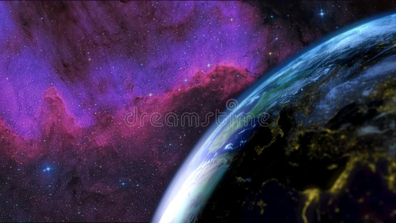 Earth seen from the sky. Focus on the transition day - night. Galaxy in the background. 3D Rendering. Earth seen from the sky with the day night alternation with royalty free illustration