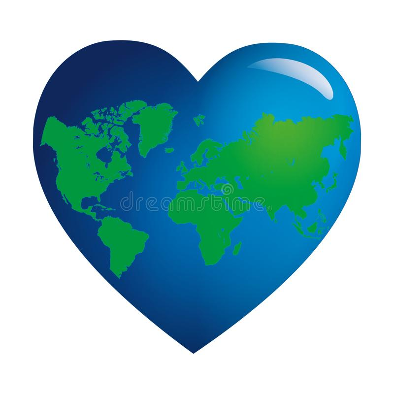 The earth in the shape of a heart stock illustration