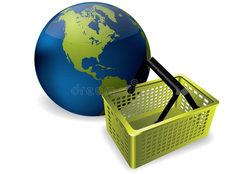 Earth and shopping basket. The Earth and a shopping basket royalty free illustration