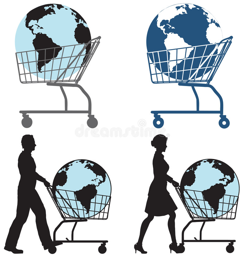 Earth Shopping Cart People vector illustration