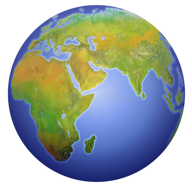 Earth showing Europe, Asia, and Africa. stock illustration