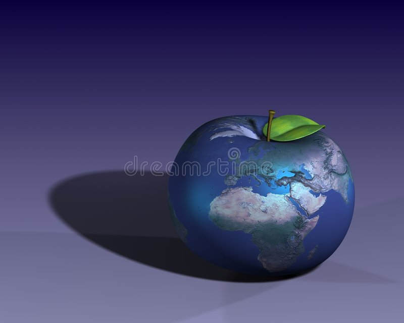 Earth shown as an apple stock image