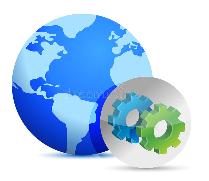 Download Earth And Sign Showing Gears. Stock Illustration - Image: 28593908