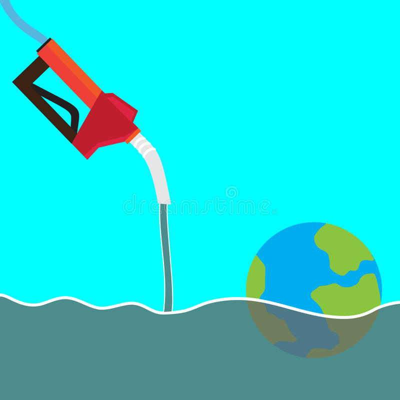EARTH SINKING IN OIL SEA stock images