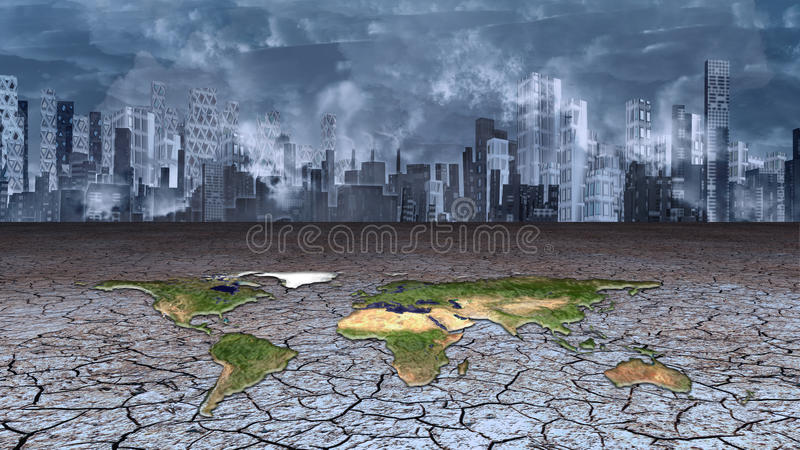 Earth sits in dried cracked mud metropolis. Earth sits in dried cracked mud before metropolis vector illustration