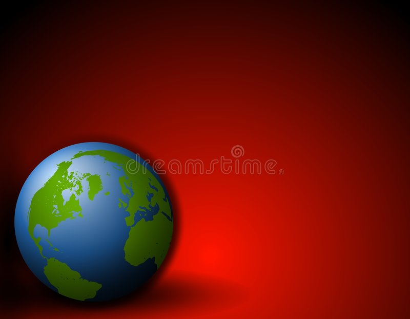 Earth Sitting on Ground Red Background stock photos