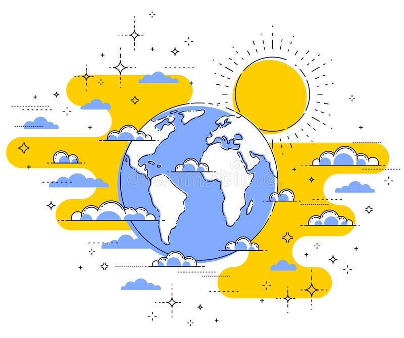 Earth in the sky surrounded by clouds beautiful thin line illustration isolated over white background. Earth in the sky surrounded by clouds beautiful thin line vector illustration