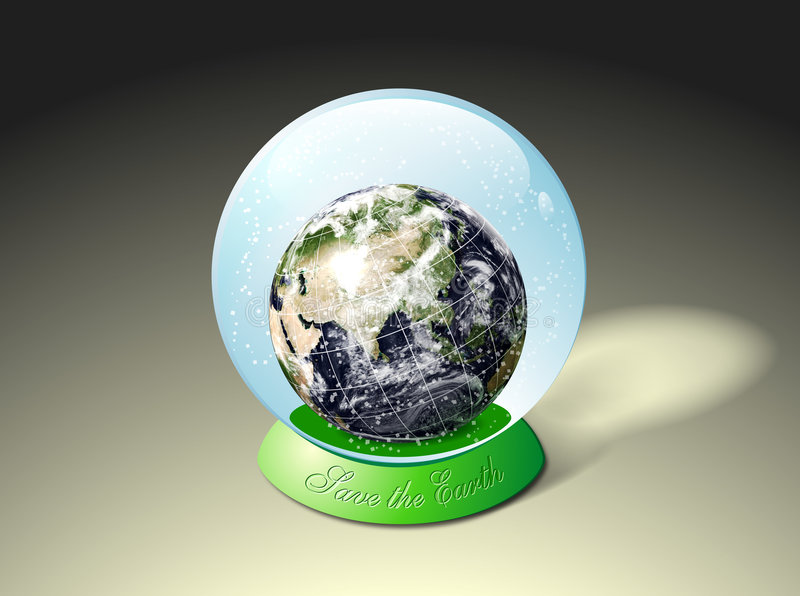 Earth in snow globe. A view of Earth inside a snow globe with the text Save the Earth. Isolated illustration of snowball stock illustration