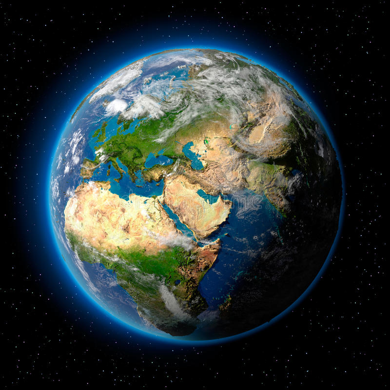 Earth in Space. Planet earth with translucent water of the oceans, atmosphere, volumetric clouds, and detailed topography in outer space