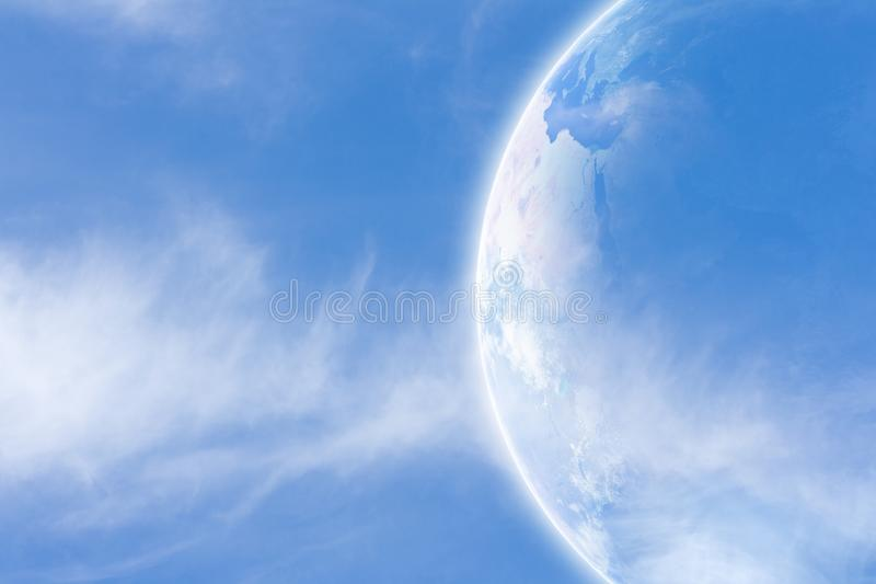 Earth in space. Idyllic peaceful view, planet Earth in space. Elements of this image furnished by NASA vector illustration
